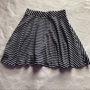 Navy and white striped skater skirt